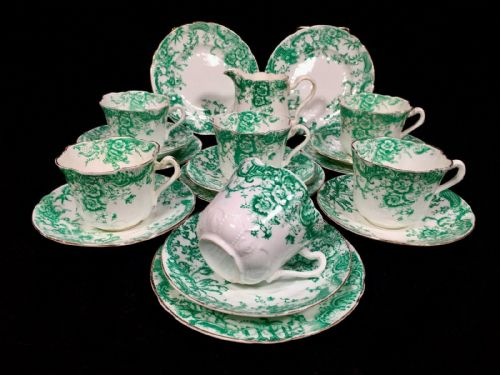 Antique Green and White Edwardian China Tea Set / 6 People / Trio